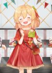 1girl absurdres bag blonde_hair blue_flower bow cake closed_eyes cupcake dress fang flandre_scarlet food fork fruit hair_ribbon head_tilt highres holding_bag knife open_mouth puffy_short_sleeves puffy_sleeves red_bow red_dress red_ribbon ribbon short_sleeves shoulder_bag smile solo strawberry touhou useq1067 wings