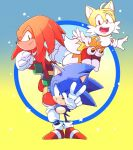 3boys 90s aimf black_eyes full_body grin knuckles_the_echidna male_focus multiple_boys multiple_tails shoes smile sneakers sonic sonic_mania sonic_the_hedgehog tail tails_(sonic) v