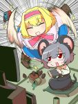 2girls :d alice_margatroid animal_ears blonde_hair blush boots cross-laced_footwear cup dress food frilled_dress frills green_tea grey_hair headband lace-up_boots mouse_ears mouse_tail multiple_girls nazrin nintendo nintendo_switch open_mouth pillow red_eyes smile spilled spinning sweat syowahoka tail tatami tea teacup television touhou