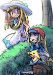brown_eyes clothes_swap dress green_eyes lillie_(pokemon) murazina pikachu pokemon pokemon_(anime) pokemon_(game) pokemon_sm pokemon_sm_(anime) satoshi_(pokemon) shorts