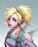 1girl alternate_costume bangs blonde_hair blue_eyes breasts choker cleavage collarbone eyelashes hair_over_one_eye head_tilt head_wreath headpiece high_ponytail highres jewelry laurel_crown lipstick long_sleeves looking_at_viewer makeup mascara mechanical_wings medium_breasts medium_hair mercy_(overwatch) nose overwatch parted_lips ponytail red_lips red_lipstick shirt short_hair short_sleeves shoulder_cutout smile solo teeth upper_body winged_victory_mercy wings xing_chen