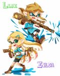 1boy 1girl action alternate_weapon bike_shorts black_shorts blonde_hair blue_eyes blue_shirt boots brown_boots brown_gloves brown_hair character_name company_connection domino_mask dual_wielding earrings fangs fingerless_gloves from_side fusion gloves green_eyes hair_ornament hairclip ink_tank_(splatoon) inkling jewelry link long_hair long_sleeves looking_at_viewer mask paint_splatter pointy_ears princess_zelda riko_(sorube) scope shirt shorts single_vertical_stripe sliding splat_charger_(splatoon) splat_dualies_(splatoon) splatoon standing tentacle_hair the_legend_of_zelda the_legend_of_zelda:_breath_of_the_wild tunic weapon