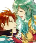 1boy 1girl akke aqua_hair armor blue_hair cape couple eirika fire_emblem fire_emblem:_seima_no_kouseki fire_emblem_heroes gloves hetero long_hair red_eyes redhead seth_(fire_emblem) short_hair smile