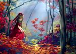 1girl autumn autumn_leaves bare_arms bow chen_bin commentary_request dress dress_lift forest front_ponytail green_eyes green_hair hair_bow hair_ribbon highres kagiyama_hina lifted_by_self long_hair nature outdoors red_bow red_dress red_ribbon ribbon solo touhou tree