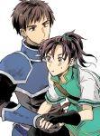 1boy 1girl armor bangs black_hair brown_eyes fir fire_emblem fire_emblem:_fuuin_no_tsurugi gauntlets gloves jacket noah_(fire_emblem) noshima ponytail short_hair
