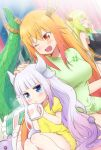 3girls :o ;d blonde_hair blue_eyes blush breasts closed_eyes cup dragon_girl dragon_horns dragon_tail eyebrows_visible_through_hair fang gradient_hair green_hair hair_down hand_on_another's_head horns kanna_kamui kl kobayashi-san_chi_no_maidragon lavender_hair long_hair looking_at_another looking_at_viewer medium_breasts mug multicolored_hair multiple_girls one_eye_closed open_mouth orange_eyes orange_hair quetzalcoatl_(maidragon) sitting smile stuffed_animal stuffed_toy tail tooru_(maidragon) yawning