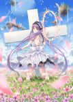 1girl bare_shoulders barefoot blue_sky blush cross day dress euryale fate/grand_order fate/hollow_ataraxia fate_(series) field flower flower_field gohei_(aoi_yuugure) hairband halo headdress highres jewelry kneeling lolita_hairband long_hair looking_at_viewer looking_back nature open_mouth outdoors petals purple_hair siblings sky sleeveless sleeveless_dress solo twintails very_long_hair violet_eyes white_dress