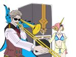 bandage berserker_of_black charles_babbage_(fate/grand_order) facial_hair fate/grand_order fate_(series) frankenstein's_monster_(swimsuit_saber)_(fate) grey_hair highres horn instrument james_moriarty_(fate/grand_order) meme mustache oven parody pink_hair sunglasses swimsuit trombone