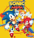 3boys 90s black_eyes knuckles_the_echidna male_focus multiple_boys multiple_tails official_art sega smile sonic sonic_mania sonic_the_hedgehog tail tails_(sonic)