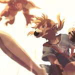 1boy battle blonde_hair blue_clothes blue_eyes blue_shirt blurry bokoblin depth_of_field eating food food_in_mouth from_below highres holding holding_sword holding_weapon jumping kutta link looking_at_another looking_down looking_up monster mouth_hold nintendo onigiri pointy_ears shirt short_hair short_sleeves sword the_legend_of_zelda the_legend_of_zelda:_breath_of_the_wild weapon