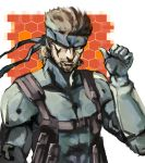 1boy bodysuit brown_hair headband male_focus metal_gear_(series) metal_gear_solid_2 ogros sneaking_suit solid_snake solo
