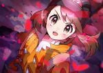 1girl absurdres bangs black_headwear blurry blush brown_eyes brown_hair commentary_request dynamax_band expedition_uniform eyelashes gloria_(pokemon) gloves helmet highres jacket looking_at_viewer open_mouth orange_jacket pokemon pokemon_(game) pokemon_swsh pon_yui shiny shiny_hair smile solo strap tongue upper_body
