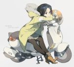 1girl black_eyes black_hair boots brown_boots brown_skirt cellphone copyright_name full_body ground_vehicle helmet high_heel_boots high_heels highres holding holding_phone jacket motor_vehicle motorcycle_helmet office_lady_taiwan original pantyhose phone scooter simple_background skirt smartphone solo tennohi white_background yellow_coat yellow_jacket