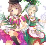 2girls apron bamboo black_hat black_legwear bow branch brown_hair cowboy_shot dress frilled_apron frills green_dress green_eyes grey_hair hat holding konnyaku_(yuukachan_51) leaf locked_arms looking_at_viewer multiple_girls nishida_satono open_mouth outstretched_arm puffy_short_sleeves puffy_sleeves purple_dress red_bow short_hair_with_long_locks short_sleeves smile tate_eboshi teireida_mai touhou violet_eyes waist_apron white_background yellow_bow