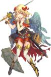 1girl ;o armor azutarou blonde_hair castel_sant'angelo_(oshiro_project) flower full_body hair_flower hair_ornament holding holding_shield holding_shoulder holding_sword holding_weapon official_art one_eye_closed oshiro_project oshiro_project_re red_eyes red_skirt shield skirt sword tearing_up thigh-highs torn_clothes torn_skirt transparent_background unsheathed wavy_hair weapon white_legwear wings