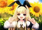 1girl armband blonde_hair double_v flower hairband highres hitomaru long_hair looking_at_viewer open_mouth original red_eyes smile solo sunflower v