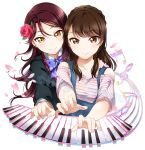 2girls aida_rikako arm_around_shoulder artist_name bangs bow bowtie brown_eyes brown_hair flower hair_flower hair_ornament hand_on_another's_shoulder instrument long_sleeves love_live! love_live!_sunshine!! multiple_girls music musical_note overalls petals piano_keys playing_instrument playing_piano purple_bow purple_bowtie redhead rose sakurauchi_riko seiyuu_connection shirt smile striped striped_shirt surfing_orange upper_body watermark yellow_eyes