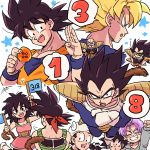 ... 1girl 6+boys :d :o =3 aqua_eyes armor back_turned bandanna bardock black_eyes black_hair blue_eyes brothers clenched_hand closed_eyes crossed_arms dougi dragon_ball dragon_ball_(object) dragonball_z eyebrows_visible_through_hair father_and_son flag frown gine gloves grandfather_and_grandson grandmother_and_grandson grin highres looking_at_viewer mother_and_son multiple_boys nappa number open_mouth purple_hair raditz salute short_hair siblings simple_background smile son_gohan son_gokuu son_goten speech_bubble spiky_hair star sunglasses super_saiyan tail tkgsize trunks_(dragon_ball) vegeta white_background wristband
