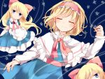 3girls alice_margatroid apron bangs blonde_hair blue_background blue_eyes blush bow capelet closed_eyes closed_mouth eyebrows_visible_through_hair hair_bow hairband hand_up karasusou_nano long_hair looking_at_viewer multiple_girls red_bow shanghai_doll short_hair short_sleeves star touhou waist_apron white_apron