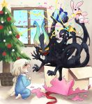 >_< 1girl :d black_skin blonde_hair blue_pajamas blue_ribbon blush bow box child christmas christmas_ornaments christmas_tree closed_eyes crying eyebrows_visible_through_hair from_side full_body gift gift_box gloom_(expression) hair_between_eyes holding holding_gift horns indoors long_hair low-tied_long_hair mikuromono monster multiple_arms no_pupils nose_blush open_mouth original pajamas party_popper pointy_ears red_bow red_ribbon ribbon sharp_teeth sitting smile solid_circle_eyes star stuffed_animal stuffed_bunny stuffed_toy sweat teeth twitter_username window yellow_sclera