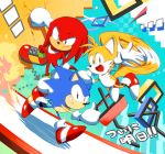 3boys gloves knuckles_the_echidna male_focus misuta710 multiple_boys no_humans running shoes smile sneakers sonic sonic_mania sonic_the_hedgehog tails_(sonic) thumbs_up waving white_gloves
