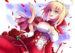 1girl :d ahoge bangs blonde_hair blush breasts cleavage dress epaulettes fate/extra fate_(series) flower green_eyes hair_intakes looking_away open_mouth petals red_dress red_rose rose rose_petals saber_extra smile solo upper_body yude