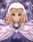 1girl absurdres blonde_hair blue_eyes breasts close-up eyebrows_visible_through_hair fate/grand_order fate_(series) headpiece highres large_breasts looking_at_viewer ruler_(fate/apocrypha) short_hair smile solo upper_body yagyun