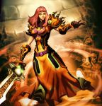 1girl armor artist_name belt covered_navel dress faceless faceless_male gauntlets genzoman gloves grand_widow_faerlina hearthstone long_hair orange_eyes redhead solo sword warcraft weapon world_of_warcraft
