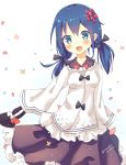 1girl :d artist_name bag black_ribbon blue_eyes blue_hair blush bow breasts brown_skirt cowboy_shot dated eyebrows_visible_through_hair flower frilled_shirt frilled_skirt frills hair_between_eyes hair_flower hair_ornament hair_ribbon handbag holding_bag long_hair long_sleeves low_twintails medium_breasts mony open_mouth original petals red_bow ribbon shirt skirt sleeves_past_wrists smile solo twintails white_background white_shirt wide_sleeves