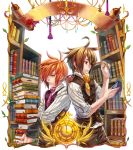 2boys ahoge ascot book book_stack bookmark bookshelf brown_eyes brown_hair brown_pants brown_vest candle clock glasses glasses_removed holding holding_book male_focus mouth_hold multiple_boys necktie orange_hair pants purple_vest red_eyes rrose scroll standing vest wax_seal