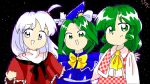 3girls :d bow closed_mouth commentary_request eyebrows_visible_through_hair eyes_visible_through_hair green_eyes green_hair hair_between_eyes hair_ornament kazami_yuuka kazami_yuuka_(pc-98) long_hair long_sleeves looking_at_viewer mima multiple_girls night night_sky oota_jun'ya_(style) open_eyes open_mouth ribumin shinki simple_background sky smile standing touhou touhou_(pc-98) upper_body white_bow white_eyes white_hair