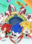 3boys absurdres black_eyes highres jewelry knuckles_the_echidna male_focus multiple_boys no_humans posojo123 ribbon ring running sonic sonic_mania sonic_the_hedgehog tails_(sonic)