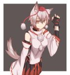 1girl animal_ears ao_homura bare_shoulders bell bell_collar belt breasts collar detached_sleeves hat inubashiri_momiji medium_breasts pom_pom_(clothes) red_eyes ribbon-trimmed_sleeves ribbon_trim shirt short_hair silver_hair sleeveless sleeveless_shirt solo tail tokin_hat touhou white_shirt wolf_ears wolf_tail