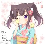>_< 1girl 2017 ;) animal animal_ears animal_on_shoulder artist_name bangs bird bird_on_shoulder blue_kimono blush brown_hair cat_ears chick commentary_request eyebrows_visible_through_hair floral_print hair_ornament holding holding_animal japanese_clothes kaiware-san kimono long_sleeves nengajou new_year obi one_eye_closed original print_kimono sash short_twintails smile solo translation_request twintails upper_body violet_eyes white_background wide_sleeves