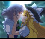2girls :o anime_coloring artist_name backlighting blonde_hair blue_vest braid clouds couple eye_contact face-to-face female full_moon glowing glowing_eyes grey_hair hands_on_another's_face hat hat_ribbon highres incipient_kiss izayoi_sakuya jackybunny kirisame_marisa letterboxed long_hair looking_at_another moon multiple_girls mutual_yuri night night_sky no_headwear open_mouth outdoors puffy_short_sleeves puffy_sleeves red_eyes ribbon short_hair short_sleeves single_braid sky touhou upper_body vest witch_hat yuri