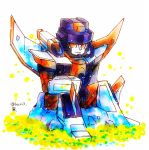 1boy artist_request decepticon grass looking_at_viewer machine machinery mecha nature no_humans outdoors personification red_eyes robot rock simple_background sitting sitting_on_rock smile solo starscream transformers transformers_armada white_background