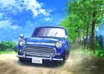 absurdres blue_sky car clouds cloudy_sky day driving grass ground_vehicle highres hirota_(masasiv3) license_plate mini_cooper motor_vehicle mountain no_humans outdoors road scenery sky tree