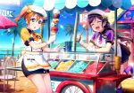 2girls apron blue_eyes blue_skirt bow brown_hair closed_eyes day floating_hair food gloves hair_between_eyes hair_bow hat highres ice_cream kneehighs kousaka_honoka leaning_forward long_hair love_live! miniskirt multiple_girls necktie one_leg_raised open_mouth orange_necktie outdoors pleated_skirt polka_dot polka_dot_bow purple_hair purple_legwear purple_necktie purple_shirt shirt short_hair short_necktie short_sleeves side_ponytail skirt smile standing striped striped_legwear toujou_nozomi vertical-striped_legwear vertical_stripes very_long_hair white_apron white_gloves white_hat yellow_bow