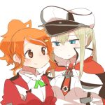 2girls aquila_(kantai_collection) blonde_hair blue_eyes capelet graf_zeppelin_(kantai_collection) hat high_ponytail jacket juliet_sleeves kantai_collection long_hair long_sleeves lowres military military_uniform multiple_girls orange_eyes orange_hair peaked_cap puffy_sleeves rebecca_(keinelove) red_jacket short_hair sidelocks simple_background smile twintails uniform white_background