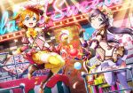 2girls :d ;d black_gloves black_hair blue_eyes bow bowtie floating_hair full_body gloves green_eyes grin hat highres kousaka_honoka long_hair love_live! multiple_girls one_eye_closed open_mouth orange_hair purple_bow purple_bowtie purple_legwear short_hair shorts shorts_under_skirt side_ponytail smile striped striped_bow striped_bowtie thigh-highs toujou_nozomi twintails vertical-striped_shorts vertical_stripes yellow_legwear yellow_shorts