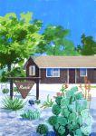 absurdres blue_sky cactus day grass highres hirota_(masasiv3) house nature no_humans outdoors road sign sky tree window
