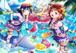 2girls :d ;p black_hair black_ribbon bow bracelet brown_hat bubble clouds cloudy_sky collarbone detached_sleeves earrings flower hair_bow hair_flower hair_ornament hat highres holding index_finger_raised island jewelry layered_skirt lens_flare long_hair looking_at_viewer love_live! love_live!_sunshine!! midriff multiple_girls nail_polish navel ocean one_eye_closed open_mouth orange_bikini_bottom orange_hair orange_nails outdoors pink_nails purple_skirt red_eyes ribbon scrunchie short_hair skirt sky smile sparkle stomach straw_hat striped_bikini_bottom takami_chika thigh_ribbon tongue tongue_out tsushima_yoshiko wrist_scrunchie yellow_bow yellow_flower