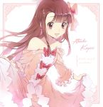 1girl :d bare_shoulders blush bow brown_hair character_name collarbone copyright_name cursive dress ekita_xuan formal frame frilled_dress frilled_sleeves frills hair_bow kagari_atsuko lifted_by_self little_witch_academia long_hair off-shoulder_dress off_shoulder open_mouth pink_dress red_bow red_eyes smile solo sparkle