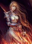 1girl armor armored_dress breasts commentary expressionless fantasy knight light_brown_hair long_hair looking_at_viewer medium_breasts orange_eyes solo standing tida_kietsungden vambraces very_long_hair warrior