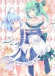 2girls alternate_costume argyle argyle_background bangs bare_shoulders blue_dress blue_eyes blue_hair bow cirno closed_mouth collarbone commentary_request daiyousei dress fairy_wings floral_background frilled_dress frills green_bow green_hair hair_between_eyes hair_bow highres ice ice_wings jewelry looking_at_viewer multiple_girls necklace open-back_dress pearl_necklace shiromoru_(yozakura_rety) short_dress short_hair side_ponytail smile touhou white_bow white_dress wings
