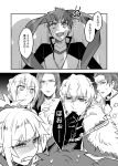 1girl armor bedivere cape comic emiya_shirou fate/extra fate/grand_order fate/stay_night fate_(series) gawain_(fate/extra) gohan_kimi highres knights_of_the_round_table_(fate) lancelot_(fate/grand_order) long_hair monochrome multiple_boys open_mouth ponytail saber_of_red short_hair translated tristan_(fate/grand_order)