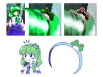 1girl :> black_eyes blush_stickers comic commentary_request detached_sleeves frog_hair_ornament green_hair hair_ornament hair_tubes hairband itatatata kochiya_sanae oota_jun'ya silent_comic simple_background smile snake_hair_ornament subterranean_animism touhou white_background