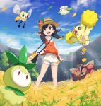 1girl :d black_eyes black_hair blue_sky braid buzzwole clouds cottonee cutiefly day field flower flower_field gonzarez hat highres legendary_pokemon mizuki_(pokemon_ultra_sm) nature open_mouth oricorio outdoors petilil pokemon pokemon_(creature) pokemon_(game) pokemon_ultra_sm shorts sky smile sun_hat tree twin_braids twitter_username ultra_beast z-ring
