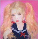 1girl artist_name artstation_username bangs blonde_hair blue_eyes blue_sailor_collar blue_shirt cherry_earrings closed_mouth commentary earrings eyelashes food_themed_earrings forehead hand_in_hair highres jewelry lolita_fashion long_hair looking_at_viewer nose original pink_background pink_lips puffy_lips red_lips red_ribbon ribbon ruoxin_zhang sailor_collar shirt solo twintails uniform watermark web_address white_border