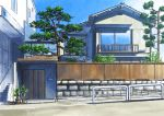 absurdres balcony blue_sky bush clouds day door grass highres hirota_(masasiv3) house no_humans outdoors plant potted_plant railing road scenery sky stairs stone_wall street town tree wall window wooden_wall